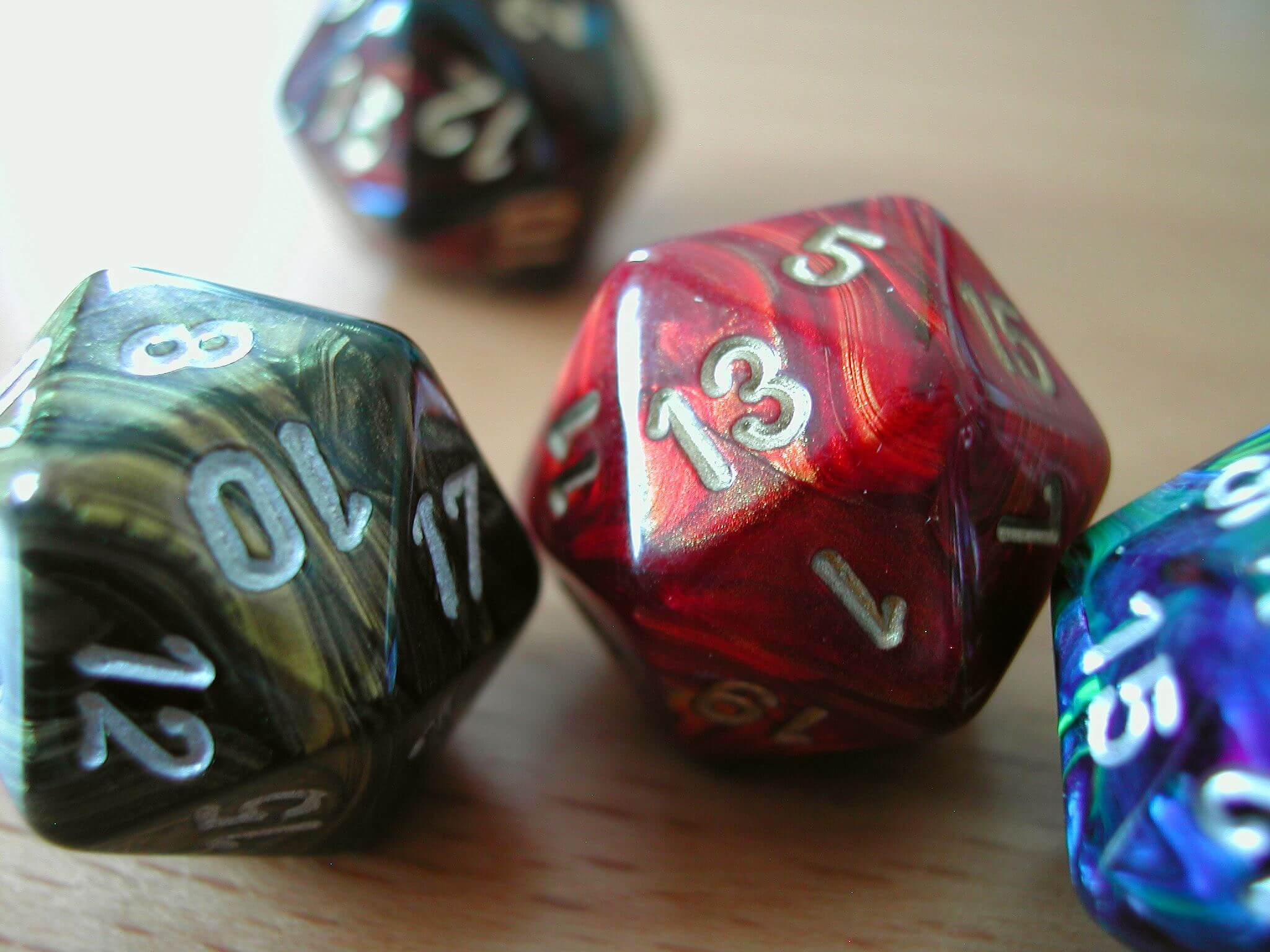 Dice D20 - Red, Blue, Green