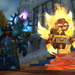 WoW Priest and Ragnaros in Cataclysm T11 Mercurial Vestments